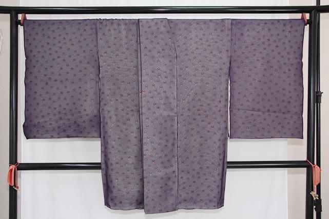 訳あり実店舗キャリー在庫 正絹 羽織 コート地 紗合わせ 紫 女性用 着物 和装 道行 道中着 たまゆら 羽尺 トッカ