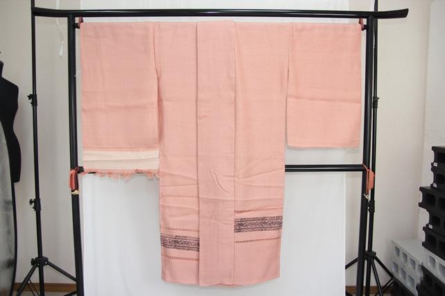 訳あり実店舗キャリー在庫 正絹 羽織 コート地 紬地 ピンク 女性用 着物 和装 道行 道中着 たまゆら 羽尺 トッカ