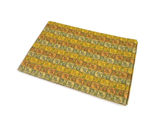 西陣正絹 名古屋帯 名物製(緑×オレンジ)(王傾騎士文 ) 龍村美術織物謹製 仕立上り商品 絹100% 巾31cm トッカ