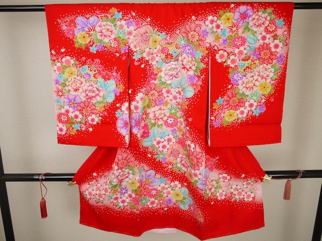 送料無料 子供 祝着(赤×花×まり) 七五三 着物 うぶぎ 初着 お宮参り 御祝儀