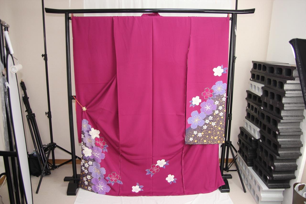 送料無料 訳あり店舗キャリー在庫 正絹振袖 赤紫×青紫(桜) 成人式 着付け お稽古