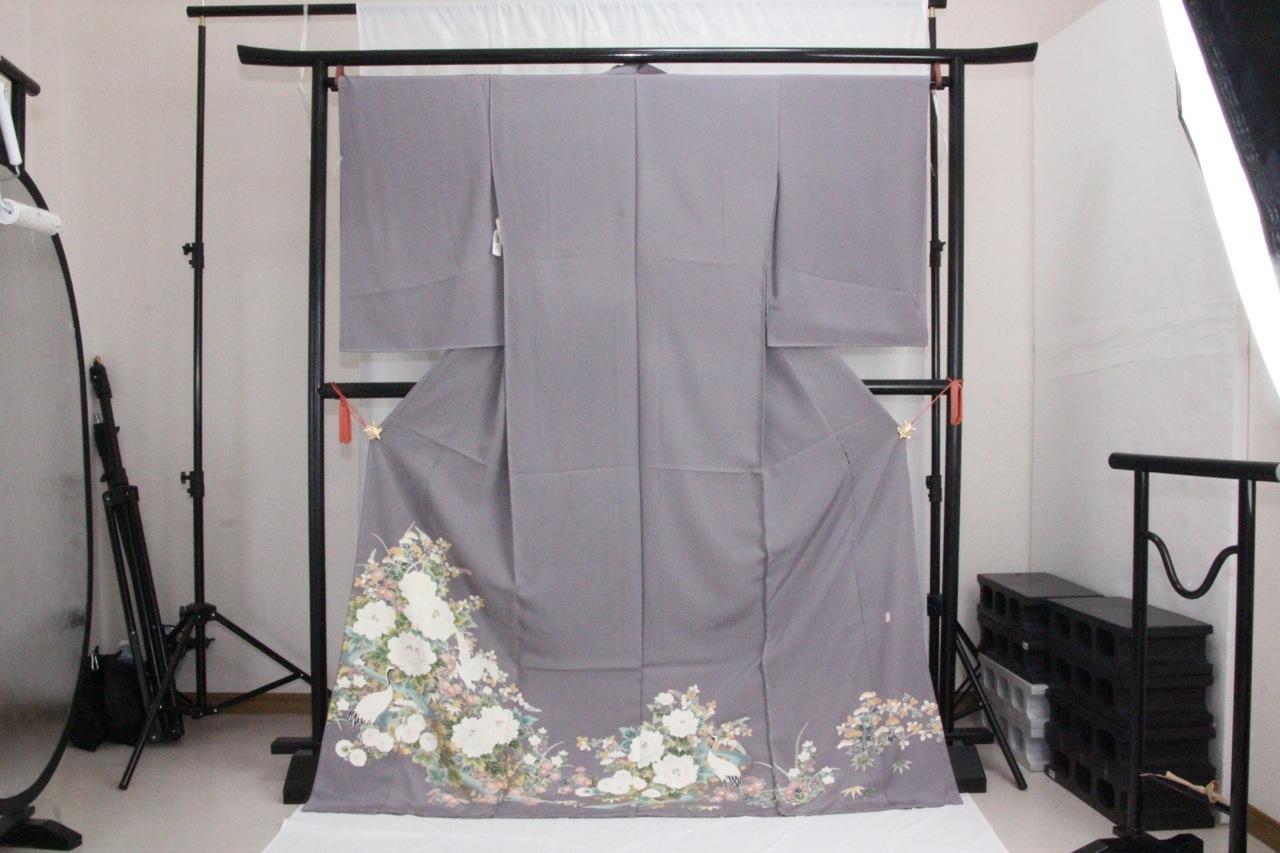 訳あり店舗キャリー在庫 正絹色留袖 グレー(ボタン・菊・桔梗・つる)礼服 結婚式 お出かけ トッカ