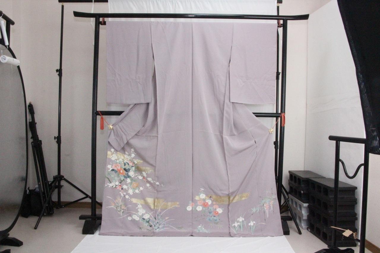 訳あり店舗キャリー在庫 正絹色留袖 藤色(椿・梅・鳥・菊・しょうぶ)礼服 結婚式 お出かけ トッカ