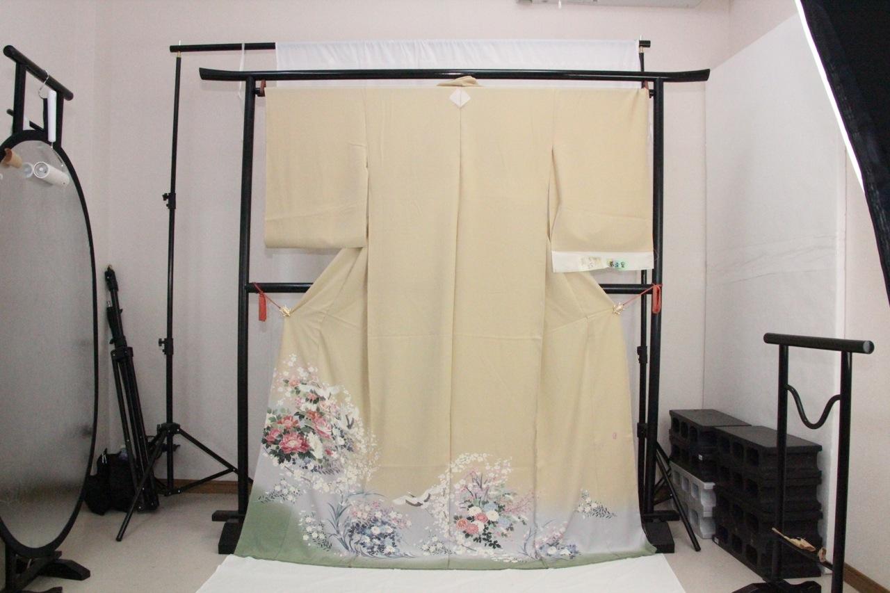 訳あり店舗キャリー在庫 正絹色留袖 淡黄(菊・桔梗・梅・鶴・ボタン)礼服 結婚式 お出かけ トッカ
