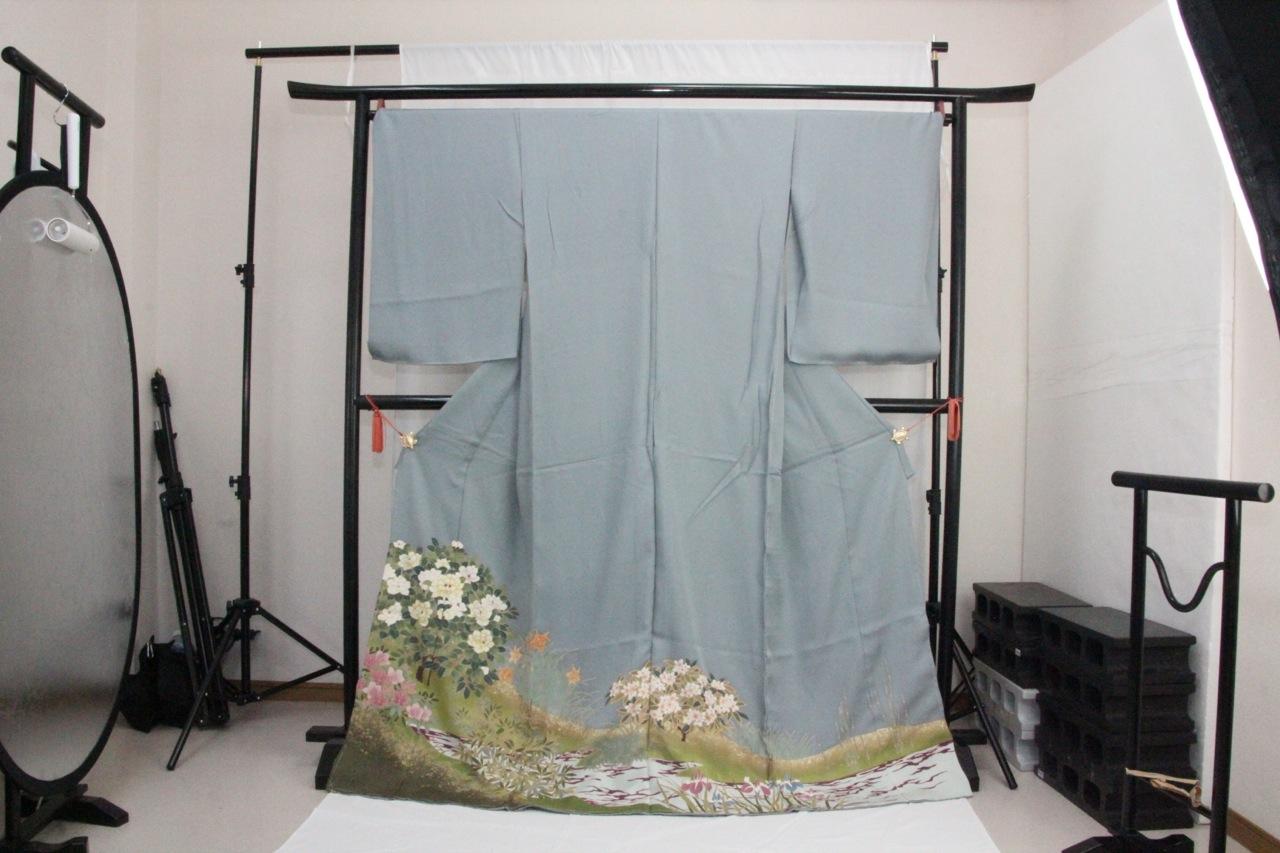 訳あり店舗キャリー在庫 正絹色留袖 ブルーグレー(しょうぶ・ゆり・つつじ)礼服 結婚式 お出かけ トッカ