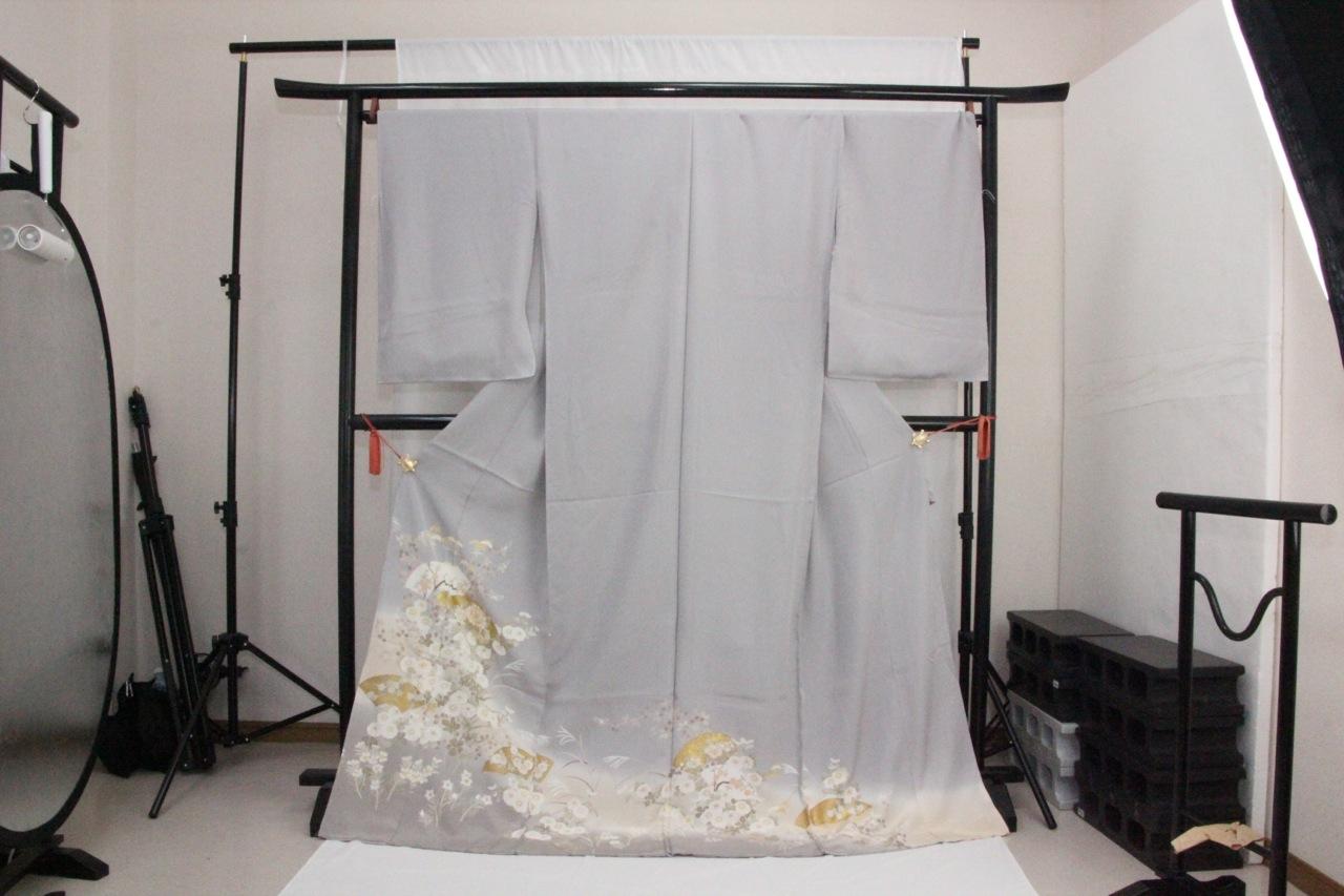 訳あり店舗キャリー在庫 正絹色留袖 灰青(ボタン・菊・ハギ・梅・桔梗)礼服 結婚式 お出かけ トッカ