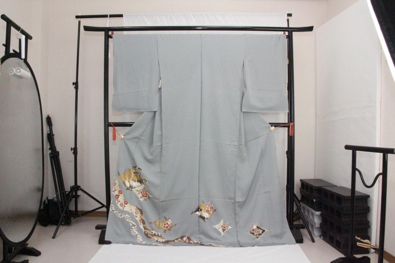 訳あり店舗キャリー在庫 正絹色留袖 灰青(椿・しょうぶ・鳥・梅・ボタン・松)礼服 結婚式 お出かけ トッカ