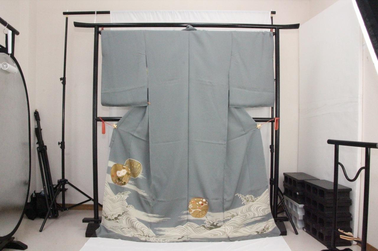訳あり店舗キャリー在庫 正絹色留袖 柳グレー(菊・柳・なでしこ・梅・波)礼服 結婚式 お出かけ トッカ