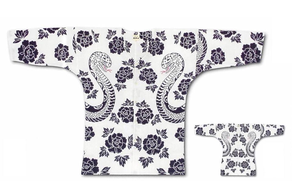 江戸一 祭り 鯉口シャツ 手拭 蛇と牡丹 大人用 超巾広(4L)