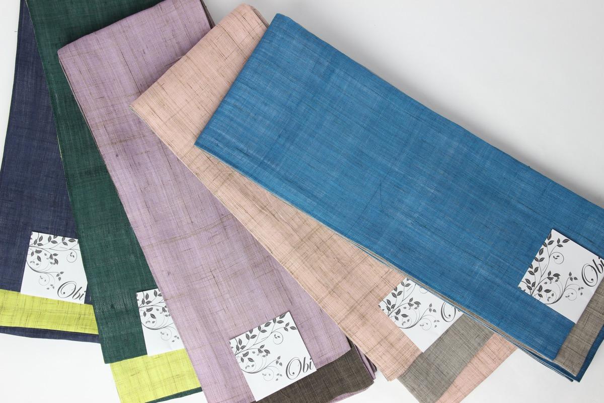 送料無料 本麻 半幅帯 日本製 着物 夏用着物 浴衣 麻 紬 小紋 半巾帯