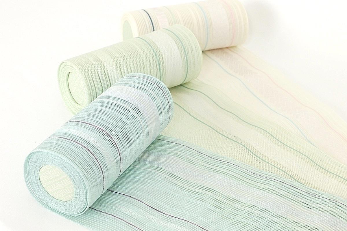 送料無料 正絹本場筑前博多織 半幅帯 涼 紗 夏帯 絹100% 四寸三分単帯 単衣帯 浴衣帯 浴衣から着物まで幅広く使えます メール便不可