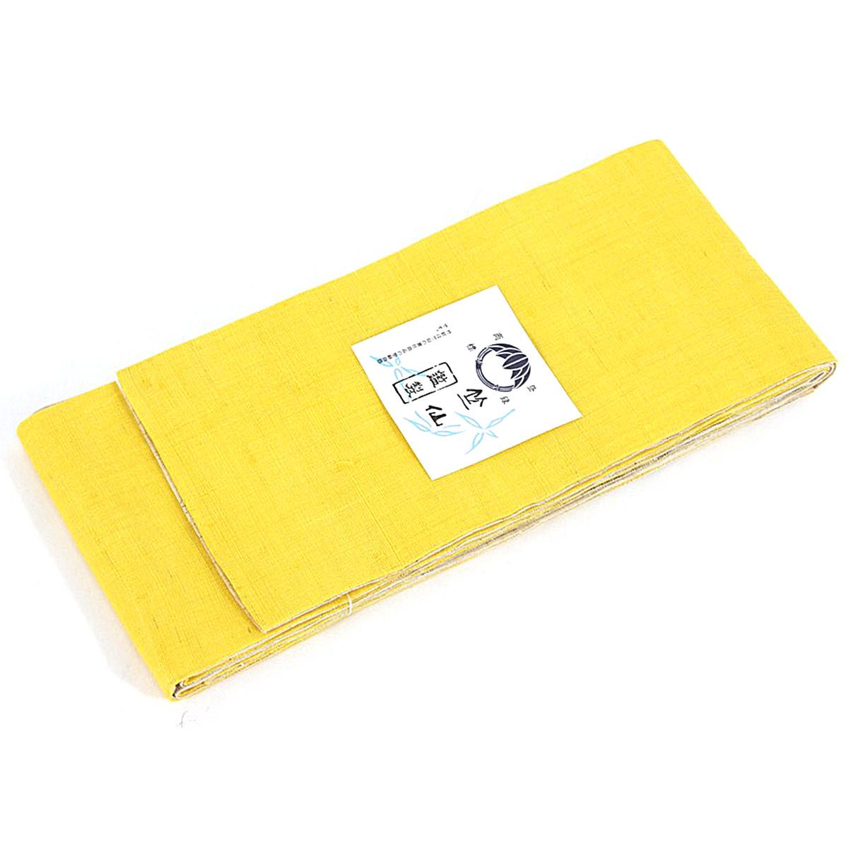 送料無料 竺仙 浴衣帯 黄×ベージュ イエロー 浴衣 ゆかた 夏 夏きもの 着物 表地 麻100% 地紋 おしゃれ 和のなごみや味わいを着物姿でお過ごしください。 和服でひとときの癒しの時間を。 日本製 メール便不可
