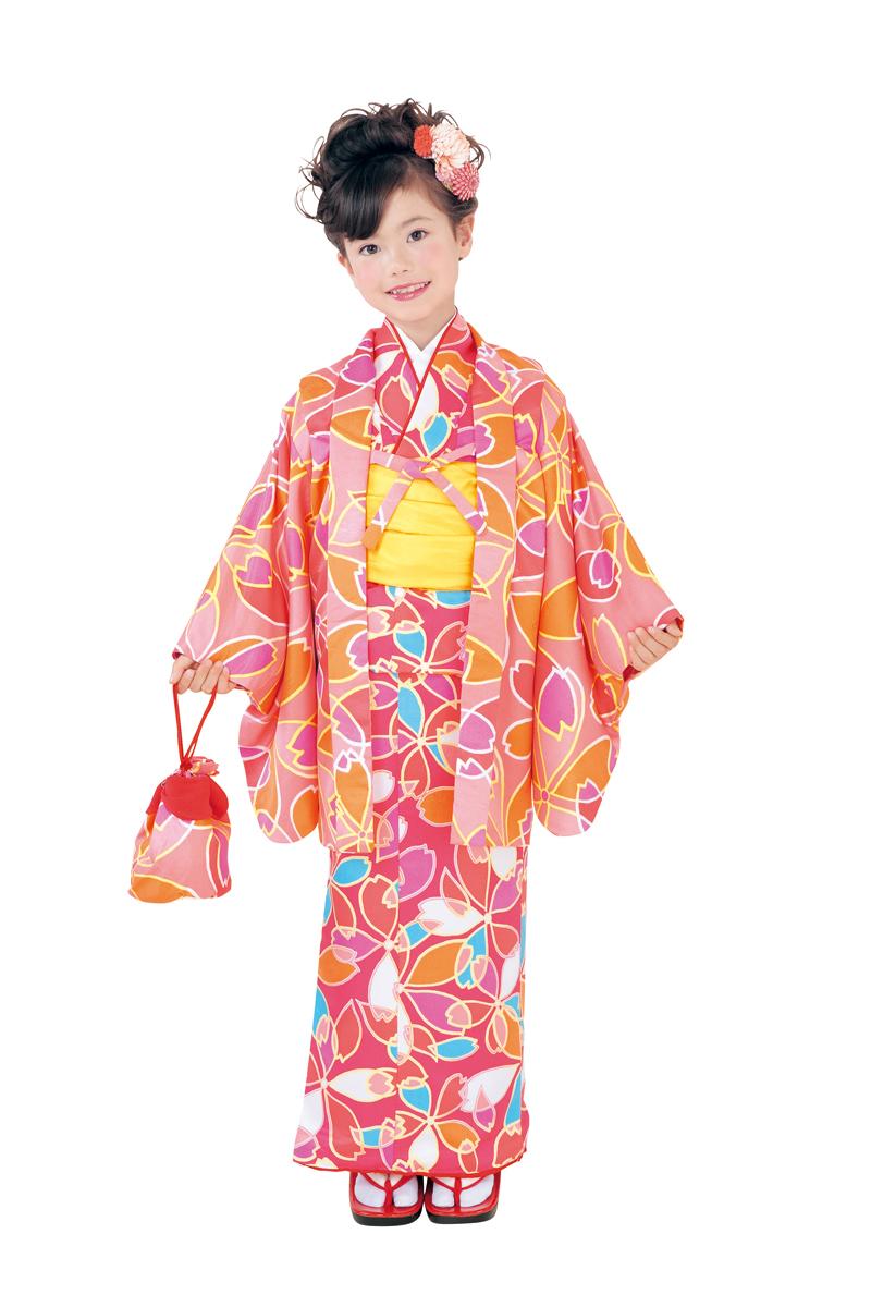 送料無料 呉服屋 新柄 ちびっこおでかけ着物6点セット 濃ピンク オレンジ系 Club H・L アッシュエル セット内容(きもの、羽織、長襦袢、兵児帯、履物、巾着) 子供 女児 女の子 洗える 七五三 正月