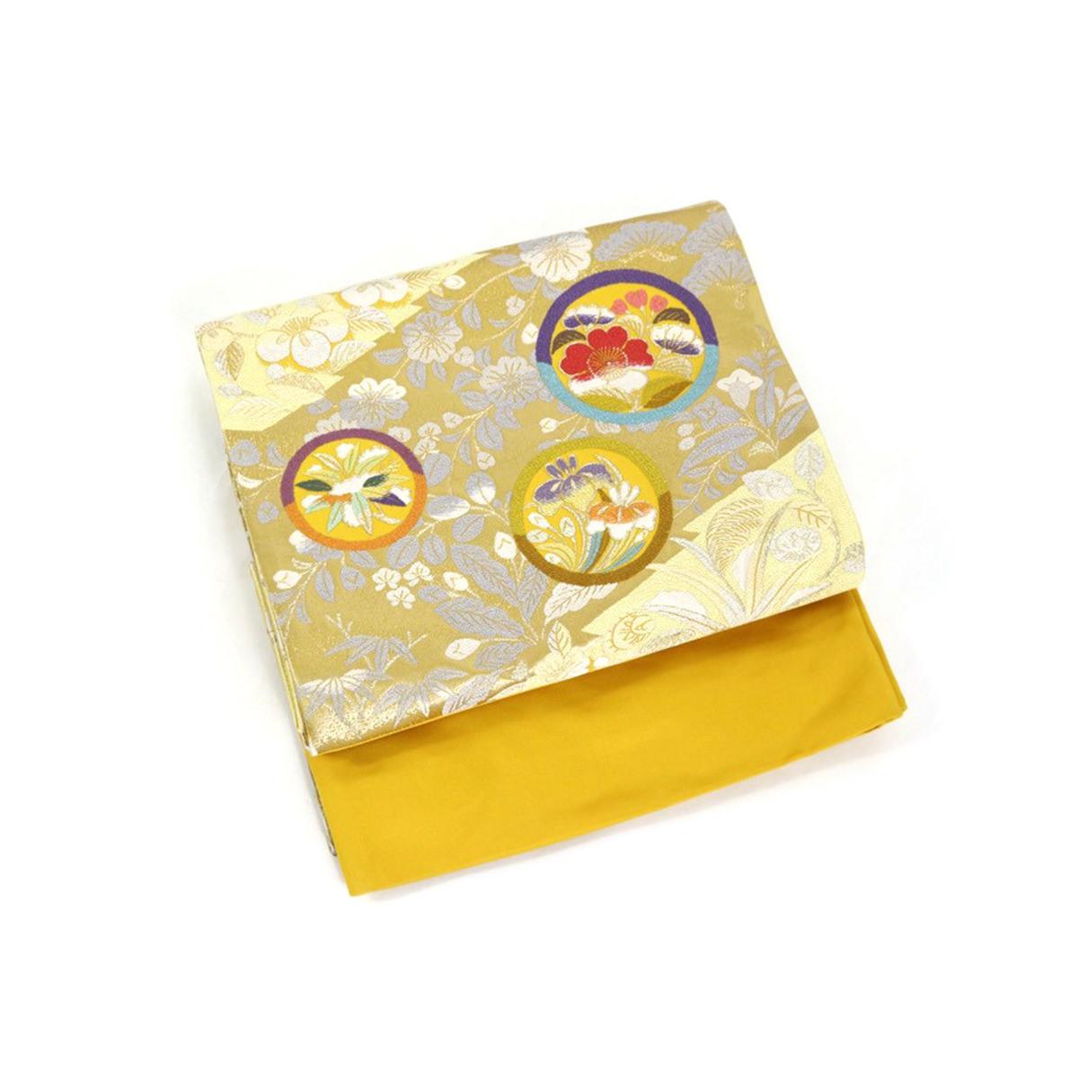 着物屋 訳あり 西陣袋帯 正絹 証紙番号486 ヤマキ織物謹製 お仕立て代サービス フォーマル セミフォーマル 女物 女性 婦人物 レディース 日本製 結婚式 成人式 正月 祝い事 礼装 トッカ 黄 金