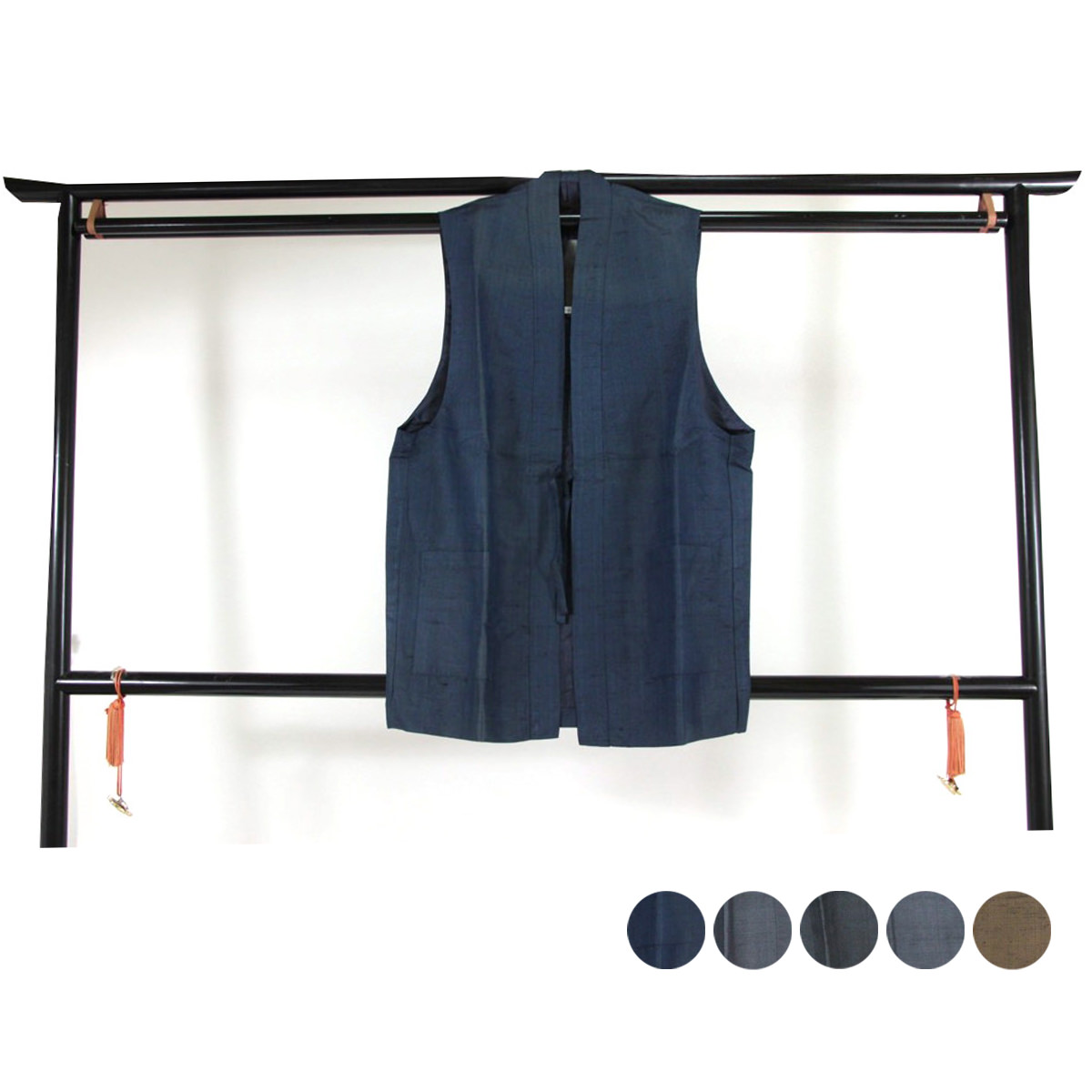 送料無料 訳あり 正絹 袖なし 男物 羽織 袷 仕立て上り品 メンズ 紳士物 絹100% 男性用 紳士物 着物 きもの はおり メール便不可