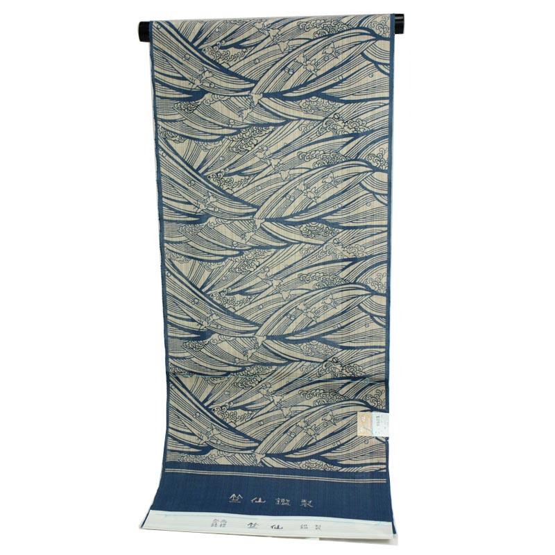 着物屋 2019年新柄 竺仙謹製 女物浴衣 反物 藍×ベージュ 綿100% 生地 奥州小紋 レディース 婦人物 ブランド メール便不可