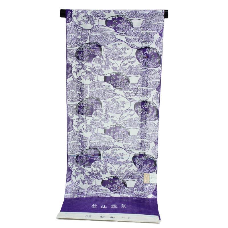 着物屋 2019年新柄 竺仙謹製 女物浴衣 反物 紫×白 綿100% 生地 紅梅小紋 レディース 婦人物 ブランド メール便不可