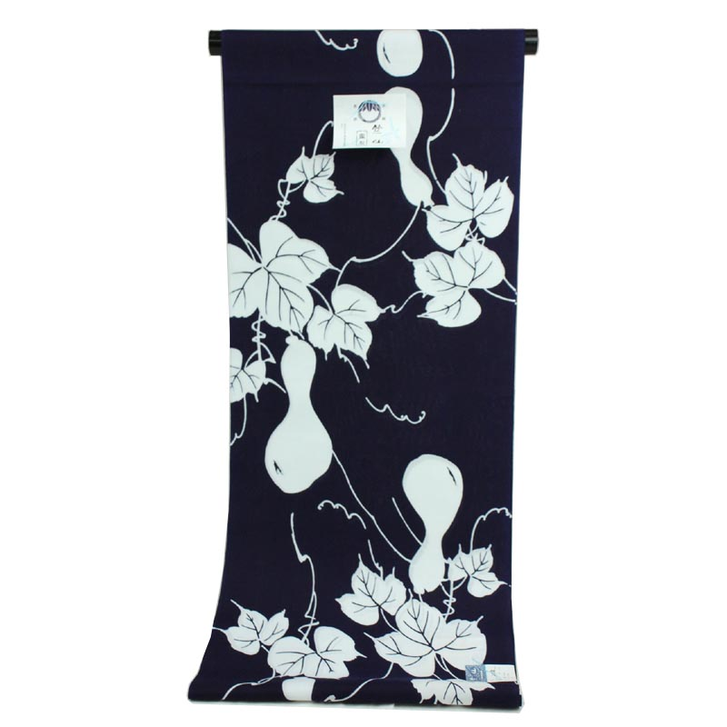 着物屋 2019年新柄 竺仙謹製 女物浴衣 反物 白×紫 ひょうたん 綿100% 生地 コーマ地染め レディース 婦人物 ブランド メール便不可