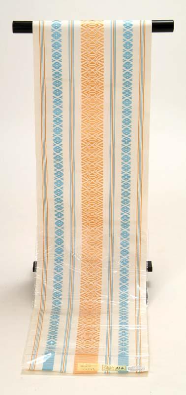 送料無料 正絹本場筑前博多織 八寸名古屋帯 献上柄・白地 水色×オレンジ