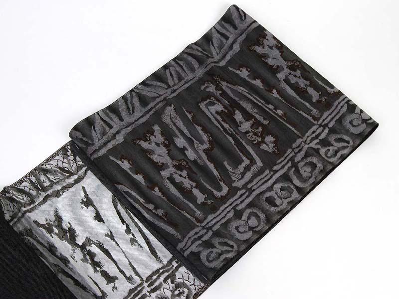正絹本場筑前博多織 八寸なごや帯 おり歳時記・陶壁箔 トッカ