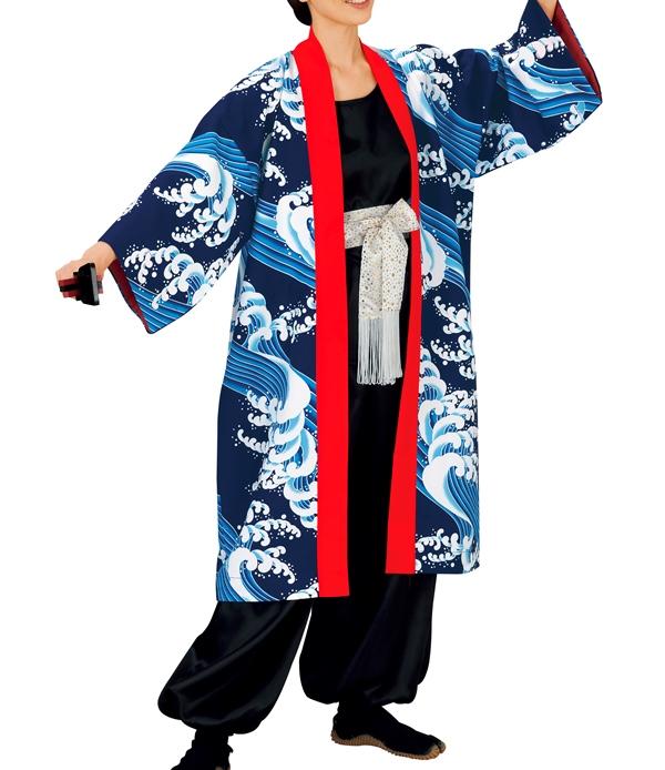 祭り衣裳 長袢天(紺に青波) 動印 取り寄せ商品 よさこい 阿波踊り 祭り用品 法被 ハッピ 半纏 半天 日本の踊り ポイント20倍 送料無料 送料込み