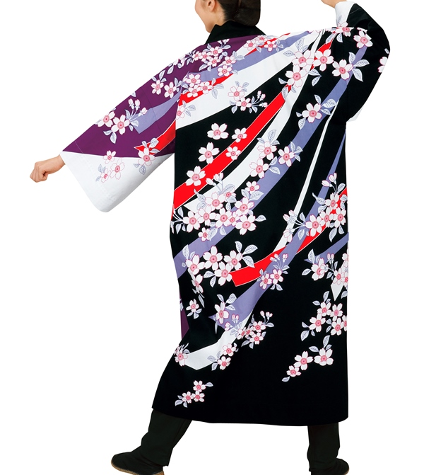 祭り衣裳 長袢天 桜(Lサイズ) 直印 取り寄せ商品 よさこい 阿波踊り 祭り用品 オックスフォード 法被 ハッピ 半纏 半天 日本の踊り 掲載 稽古 習い事 詩吟 舞踊 民謡 発表 行事 夏 秋祭り ポイント20倍
