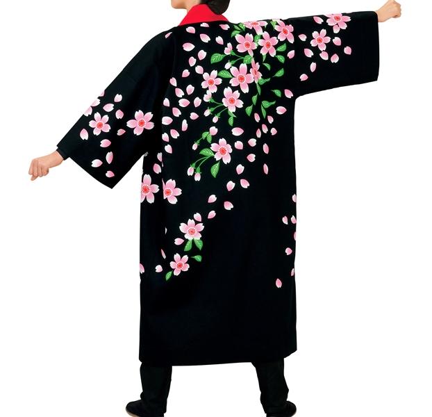 祭り衣裳 長袢天 桜(LLサイズ) 直印 取り寄せ商品 よさこい 阿波踊り 祭り用品 オックスフォード 法被 ハッピ 半纏 半天 日本の踊り 掲載 稽古 習い事 詩吟 舞踊 民謡 発表 行事 夏 秋祭り ポイント20倍