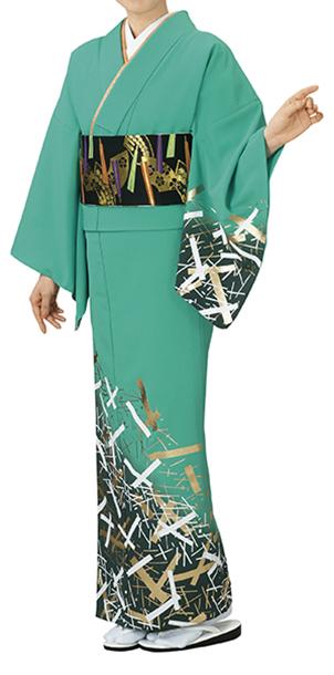 踊り衣裳 反物 蘭印 一越本絵羽 若竹(白・金) 取り寄せ商品 日本の踊り 掲載 踊り絵羽 稽古 習い事 舞踊 民謡 発表会《女性用 レディース 洗える着物》金箔を使用した高級感のあるお着物。 ポイント20倍 ポイント20倍