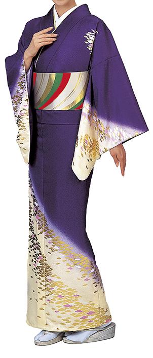 踊り衣裳 反物 辺印 綸子本絵羽 紫×クリーム色(金柄) 取り寄せ商品 日本の踊り 掲載 踊り絵羽 稽古 習い事 舞踊 民謡 発表会《女性用 レディース 洗える着物》金箔のあしらいが高級感のあるお着物です。 ポイント20倍