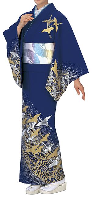 踊り衣裳 反物 谷印 シルク加工絵羽 濃紺(白・金柄) 取り寄せ商品 日本の踊り 掲載 踊り絵羽 稽古 習い事 舞踊 民謡 発表会《女性用 レディース 洗える着物》金箔のあしらいが高級感のあるお着物です。 ポイント20倍