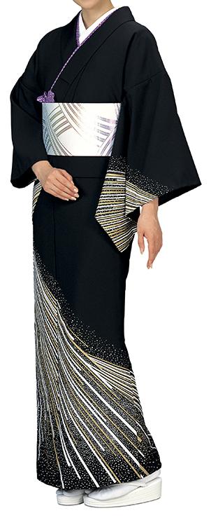 踊り衣裳 反物 谷印 シルク加工絵羽 黒(白・金柄) 取り寄せ商品 日本の踊り 掲載 踊り絵羽 稽古 習い事 舞踊 民謡 発表会《女性用 レディース 洗える着物》金箔のあしらいが高級感のあるお着物です。 ポイント20倍 ポイント20倍