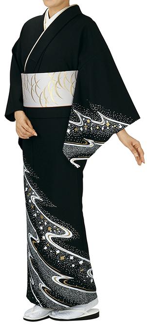 踊り衣裳 反物 谷印 シルク加工絵羽 黒(白・金柄) 取り寄せ商品 日本の踊り 掲載 踊り絵羽 稽古 習い事 舞踊 民謡 発表会《女性用 レディース 洗える着物》金箔のあしらいが高級感のあるお着物です。 ポイント20倍