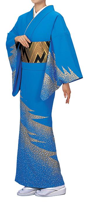 踊り衣裳 反物 谷印 シルク加工絵羽 ブルー(白・金柄) 取り寄せ商品 日本の踊り 掲載 踊り絵羽 稽古 習い事 舞踊 民謡 発表会《女性用 レディース 洗える着物》金箔のあしらいが高級感のあるお着物です。 ポイント20倍