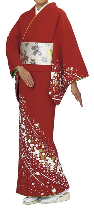 踊り衣裳 反物 谷印 シルク加工絵羽 朱赤(白・金柄) 取り寄せ商品 日本の踊り 掲載 踊り絵羽 稽古 習い事 舞踊 民謡 発表会《女性用 レディース 洗える着物》金箔のあしらいが高級感のあるお着物です。 ポイント20倍