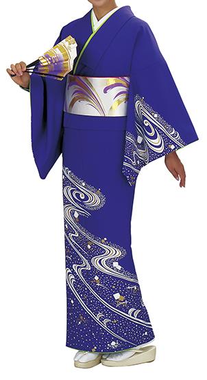 踊り衣裳 反物 谷印 シルク加工絵羽 青紫(金×白柄) 取り寄せ商品 日本の踊り 掲載 踊り絵羽 稽古 習い事 舞踊 民謡 発表会《女性用 レディース 洗える着物》 ポイント20倍 ポイント20倍