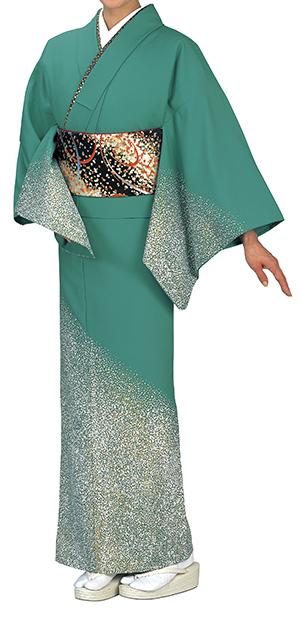 踊り衣裳 反物 谷印 シルク加工絵羽 緑青(白・金柄) 取り寄せ商品 日本の踊り 掲載 踊り絵羽 稽古 習い事 舞踊 民謡 発表会《女性用 レディース 洗える着物》金箔のあしらいが高級感のあるお着物。 ポイント20倍 ポイント20倍