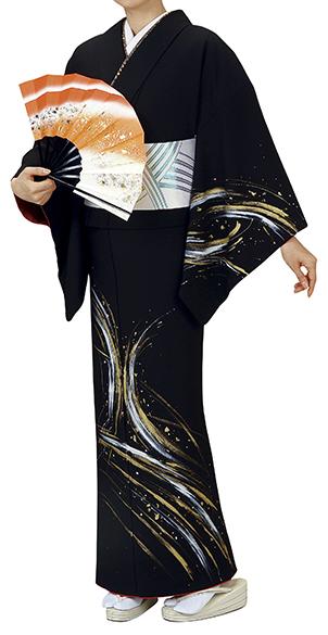 踊り衣裳 反物 谷印 シルク加工絵羽 黒(白・金柄) 取り寄せ商品 日本の踊り 掲載 踊り絵羽 稽古 習い事 舞踊 民謡 発表会《女性用 レディース 洗える着物》金箔のあしらいが高級感のあるお着物。 ポイント20倍 ポイント20倍
