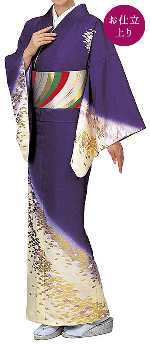 踊り衣裳 お仕立上り着物 辺印 綸子本絵羽 紫×クリーム色(金柄) 取り寄せ商品 日本の踊り 掲載 踊り絵羽 稽古 習い事 舞踊 民謡 発表会《女性用 レディース 洗える着物》金箔のあしらいが高級感のあるお着物です。 ポイント20倍