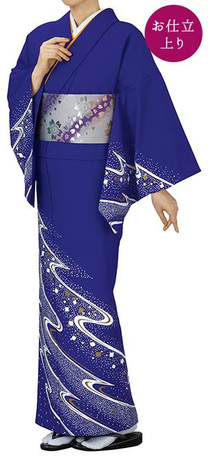 踊り衣裳 お仕立上り着物 谷印 シルク加工絵羽 藍(白・金柄) 取り寄せ商品 日本の踊り 掲載 踊り絵羽 稽古 習い事 舞踊 民謡 発表会《女性用 レディース 洗える着物》金箔のあしらいが高級感のあるお着物です。 ポイン