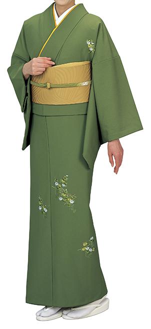 踊り衣裳 反物 礼印 一越刺繍附下げ 青丹(あおに) 取り寄せ商品 日本の踊り 掲載 踊り絵羽 稽古 習い事 舞踊 民謡 発表会《女性用 レディース 洗える着物》刺繍が施された品のあるお着物。 ポイント20倍 ポイント20倍