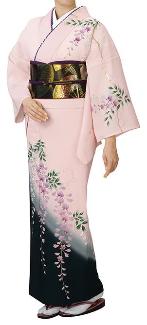 踊り衣裳 反物 川印 一越本絵羽 ピンク×黒(藤柄) 取り寄せ商品 日本の踊り 掲載 踊り絵羽 稽古 習い事 舞踊 民謡 発表会《女性用 レディース 洗える着物》淡いピンク色が優しい印象のお着物。 ポイント20倍 ポイント20倍