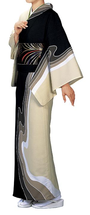 踊り衣裳 反物 川印 一越本絵羽 黒×ベージュ 取り寄せ商品 日本の踊り 掲載 踊り絵羽 稽古 習い事 舞踊 民謡 発表会《女性用 レディース 洗える着物》 ポイント20倍 ポイント20倍