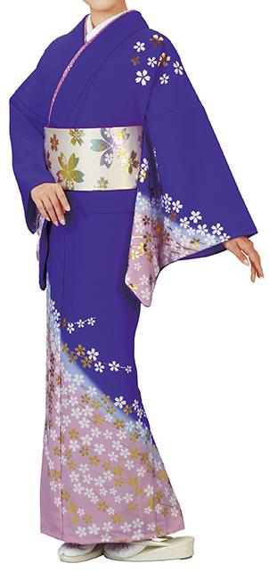 踊り衣裳 反物 川印 一越本絵羽 紫×ピンク(桜柄) 取り寄せ商品 日本の踊り 掲載 踊り絵羽 稽古 習い事 舞踊 民謡 発表会《女性用 レディース 洗える着物》桜柄が可愛らしいお着物。 ポイント20倍 ポイント20倍