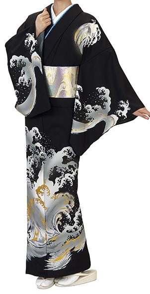 踊り衣裳 反物 川印 一越本絵羽 黒(波柄) 取り寄せ商品 日本の踊り 掲載 踊り絵羽 稽古 習い事 舞踊 民謡 発表会《女性用 レディース 洗える着物。》袖や裾にひろがる絵羽模様が会えます。 ポイント20倍