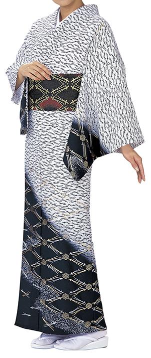 踊り衣裳 反物 川印 一越本絵羽 白×黒 取り寄せ商品 日本の踊り 掲載 踊り絵羽 稽古 習い事 舞踊 民謡 発表会《女性用 レディース 洗える着物》 ポイント20倍 ポイント20倍