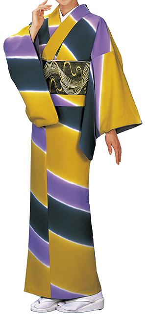 踊り衣裳 反物 野印 一越小紋 からし色×紺×紫 取り寄せ商品 日本の踊り 掲載 踊り絵羽 稽古 習い事 舞踊 民謡 発表会 《女性用 レディース 洗える着物》 ポイント20倍 ポイント20倍