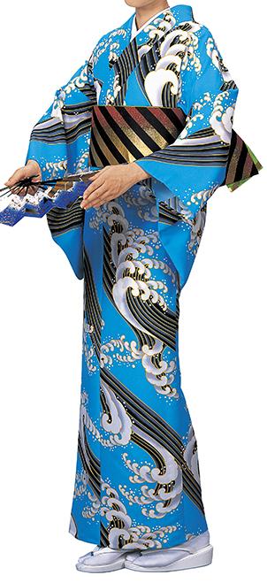 踊り衣裳 反物 柚印 手染小紋着尺 水色(黒・白) 取り寄せ商品 日本の踊り 掲載 踊り絵羽 稽古 習い事 舞踊 民謡 発表会 《女性用 レディース 洗える着物》 ポイント20倍 ポイント20倍