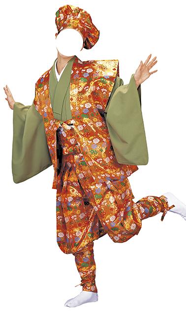 踊り衣裳 香印 たっつけ袴セット うぐいす色・橙色 取り寄せ商品 日本の踊り 掲載 稽古 習い事 舞踊 民謡 発表会 《女性用 レディース 洗える着物》 ポイント20倍 ポイント20倍