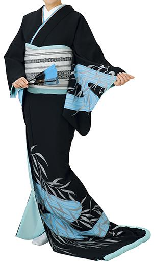 踊り衣裳 お仕立上り着物 姿印 高級裾引衣裳 黒(水色・銀柄) 取り寄せ商品 日本の踊り 掲載 踊り絵羽 稽古 習い事 舞踊 民謡 発表会《女性用 レディース 洗える着物》 ポイント20倍 ポイント20倍