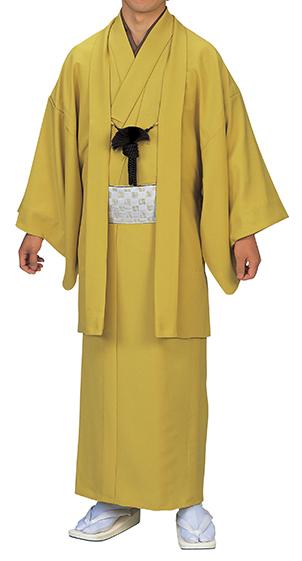 踊り衣裳 色無地羽織 羽印 黄色 取り寄せ商品 日本の踊り 掲載 稽古 習い事 舞踊 民謡 発表会《男性用 メンズ 洗える着物》 ポイント20倍 ポイント20倍